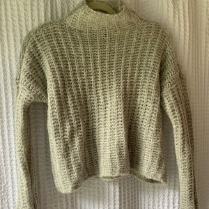 Aerie Grey Cropped Turtleneck Sweater